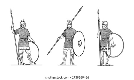 Late roman soldiers before the battle. Set of 3 warriors. Outline drawing.