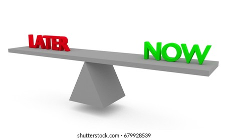 Later vs now on seesaw. 3D render isolated on white background.