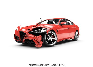 Lateral red car crash on a white background isolated on a white background: 3D rendering