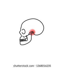 Lateral view of human skull with red highlight at temporomandibular joint. Dental icon for Occlusion.