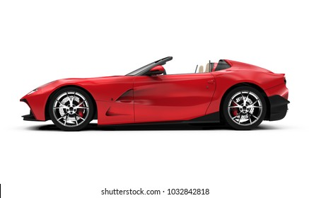 lateral view of a red convertible car: 3D illustration
