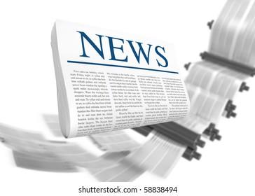 Latest News. Printed Media Concept