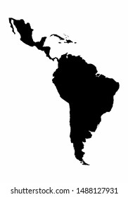 Latin America dark silhouette map isolated on white background