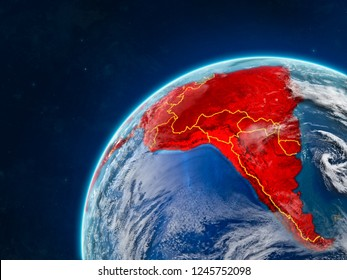 Latin America on realistic model of planet Earth with country borders and very detailed planet surface and clouds. 3D illustration. Elements of this image furnished by NASA.