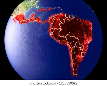 Latin America from space on Earth at night. Very fine detail of the plastic planet surface with bright city lights. 3D illustration. Elements of this image furnished by NASA.