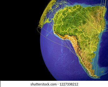 Latin America from space on planet Earth with lines representing global communication, travel, connections. 3D illustration. Elements of this image furnished by NASA.