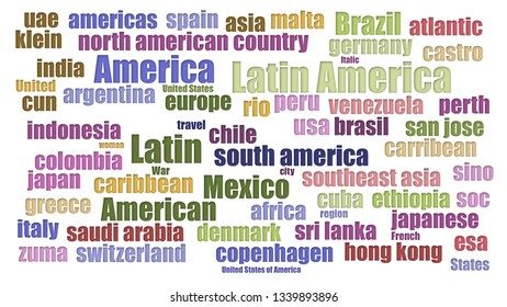 Latin America Tagcloud Neatly Isolated On White