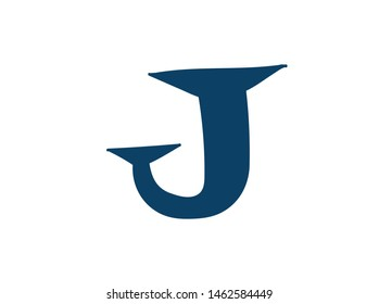 Latin letter J. Logo for the company. Icon for the site. Separate letter from the alphabet. Barbed pleasant shape.