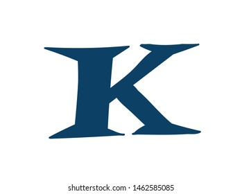 Latin letter K. Logo for the company. Icon for the site. Separate letter from the alphabet. Barbed pleasant shape.