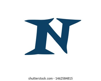 Latin letter N. Logo for the company. Icon for the site. Separate letter from the alphabet. Barbed pleasant shape.