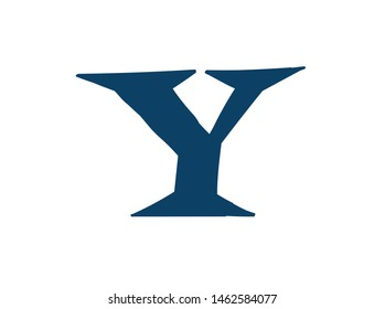 Latin letter Y. Logo for the company. Icon for the site. Separate letter from the alphabet. Barbed pleasant shape.