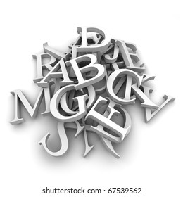 Latin letters poured into a heap, isolated on a white background
