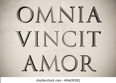 """Latin quote """"Omnia vincit amor"""" on stone background, 3d illustration - meaning """"Love conquers all"""""""