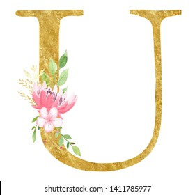 Latin U letter with blossom raster illustration. Initial alphabet symbol with golden texture. Realistic vowel with beautiful rose and lotus watercolor painting. Natural logo design element