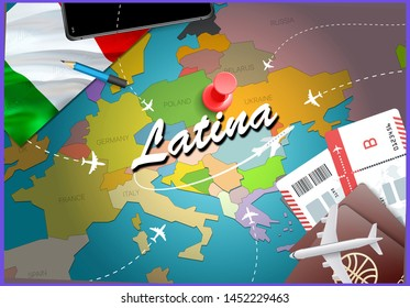 Latina city travel and tourism destination concept. Italy flag and Latina city on map. Italy travel concept map background. Tickets Planes and flights to Latina holidays Italian vacation