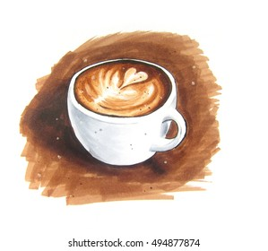 Latte art vintage sketch on brown background