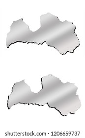 Latvia contour map with metallic gradient and shadow isolated on white background