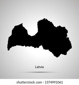 Latvia country map, simple black silhouette