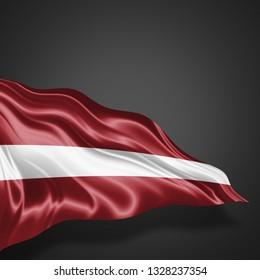 Latvia flag of silk with copyspace for your text or images and Black background-3D illustration