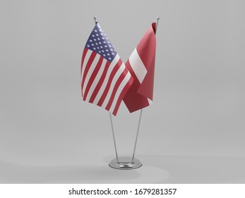 Latvia - United States of America Cooperation Flags, White Background - 3D Render