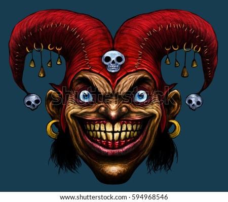 Laughing Angry Joker Character Joker Head Stock Illustration