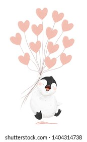 Laughing baby penguin with heart balloons in hand on white background
