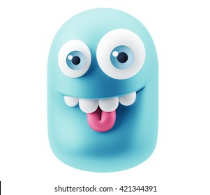Laughing Emoji Cartoon. 3d Rendering.
