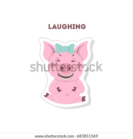 fef3f8009 Royalty Free Stock Illustration of Laughing Pig Sticker Isolated ...