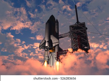 The launch against the sky.,3d render.