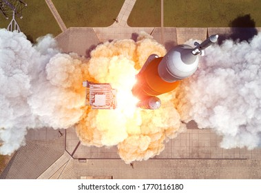 Launch Of Heavy Carrier Rocket (Space Launch System). Aerial View. 3D Illustration.