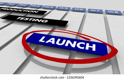 Launch Production Testing Development Phases Gantt Chart Timeline 3d Illustration