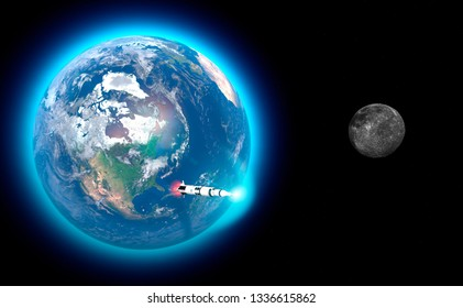 Launch of the Saturn V rocket towards the moon, the fiftieth anniversary of the moon landing. Apollo mission 11. Earth and moon in space. 3d rendering. Element of this image are furnished by NASA