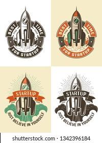 Launch space rocket color retro emblem template.