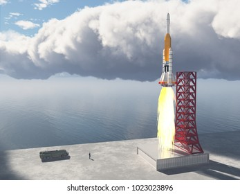Launch vehicle and launch pad Computer generated 3D illustration