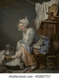 The Laundress, by Jean-Baptiste Greuze, 1761, French painting, oil on canvas. The moralizing artist Greuze portrays maidservant with an exposed stocking and slipper, and a provocative gaze. Greuze gi