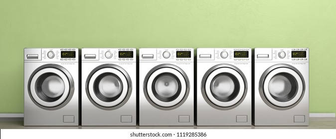 Laundromat. Clothes washing, dryer machines on wooden floor, green wall background, banner. 3d illustration