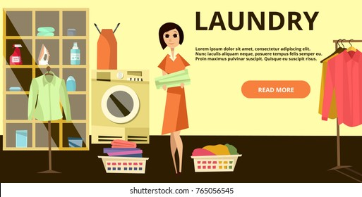 Laundry horizontal banner with laundry operatives females ironing and hanging clean shirts, place for your text. Laundry service advertising flat illustration.