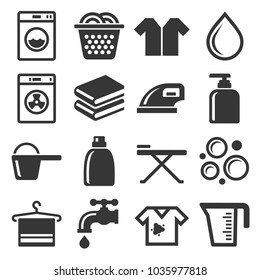Laundry and Housework Icons Set.