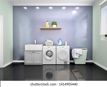Laundry room design with washing machine. 3d illustration