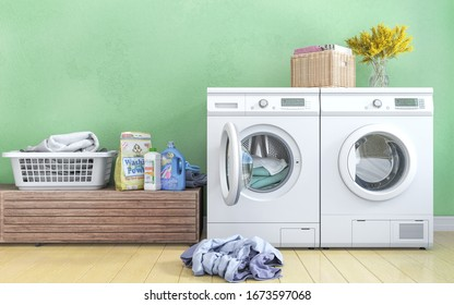 Laundry room with green wall,basket,flowers,wooden floor and shelving. 3d illustration