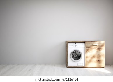 Laundry room interior with a white wooden floor, a gray wall, a built in washing machine inside a wooden cabinet. 3d rendering mock up