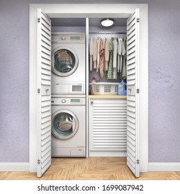 Laundry room with wood floor, washing machine at closet,blue wall, shelving and clothes. 3d illustration