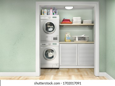 Laundry room with wood floor, washing machine at closet, shelving and clothes. 3d illustration