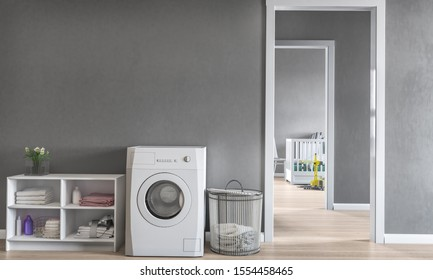 Laundry room,3d illustration  with children's room