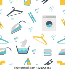 Laundry Themed Graphics with Washing Machines  Clothes Pins and Hangers