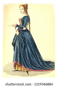 Laura de Noves, vintage engraved illustration. 12th to 18th century Fashion By Image