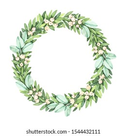 Laurel wreath with greenery branches, mistletoe, eucalyptus - Watercolor illustration. Happy new year and merry christmas. Winter composition. Perfect for cards, wedding invitations, banners, posters