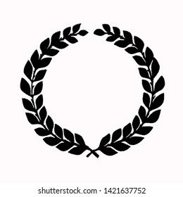 Laurel wreath silhouette made of dried branches and leaves illustration isolated on a white background