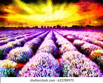 Lavanda fields sunrise oil painting