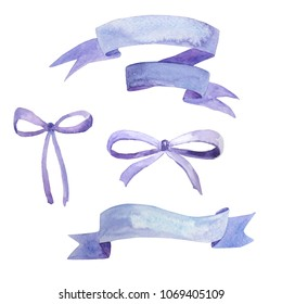 Lavender collection, painted in watercolor. Bows and ribbons watercolor. For card making, party invitations, wedding invitations, stationery, party tags, blog design, logos, digital scrapbooking, pack